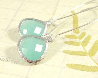 Silver Dangle Earrings : Seafoam, Aqua Gemstone Dangle Earrings