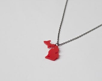 Michigan Necklace - Lower and Upper Michigan State Necklace - Red Acrylic LP UP Map Jewelry Michigan State Love Jewelry State Heart
