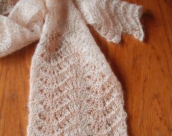 Handknitted Lace Scarf in Soft Peach - Silk & Mohair