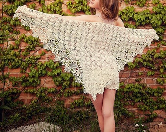 Shawl Of The Moirae - Crochet Shawl Wrap Pattern, Lace Weight Available in USA and British terms