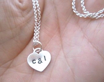 Sweetheart Necklace - Personalized Hand Stamped Sterling Silver Tiny Heart Initial Necklace