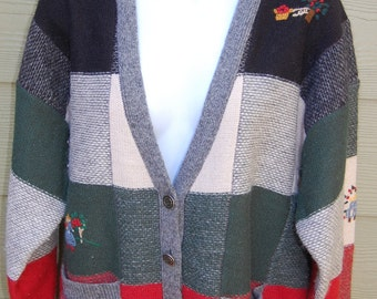 Vintage 1989 Susan Bristol Hand Embroidered Pure Wool Patchwork Cardigan Sweater Size Large