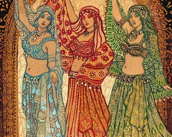 Sisterhood of the Silk Road ACEO ATC Fine Art Print Pagan Mythology Psychedelic Belly Dance Bohemian Gypsy Goddess Art