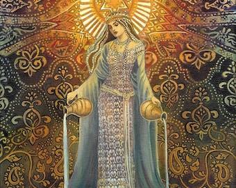 The Star Tarot Art Goddess of Hope Original Acrylic Painting Psychedelic Bohemian Mythology