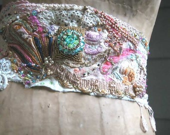 Art Decadence Belt, Antique Silk Embroidery, Bead Encrusted, Handmade Antique Lace, Bohemian