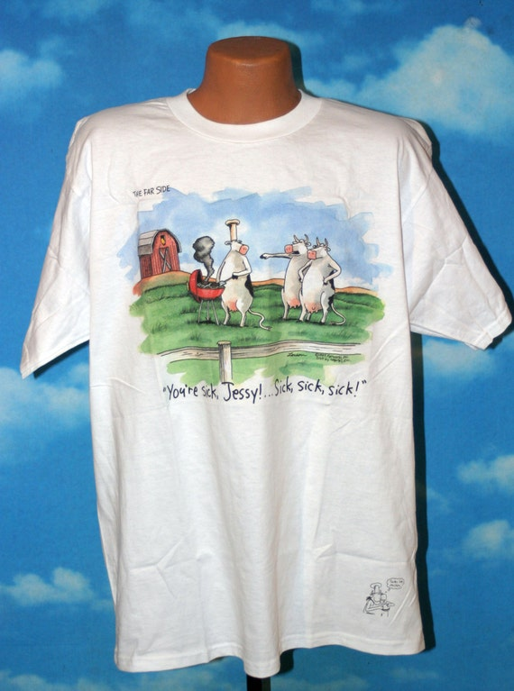 Far Side Cows Bbq Gary Larson Vintage 1987 Xl T Shirt