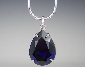 Indigo Rhinestone Necklace Wedding Jewelry Bridesmaid Necklace Swarovski Violet Blue MADE TO ORDER