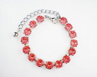 Rose Peach Rhinestone Bracelet Coral Pink Swarovski Wedding Jewelry Bridesmaid Jewelry