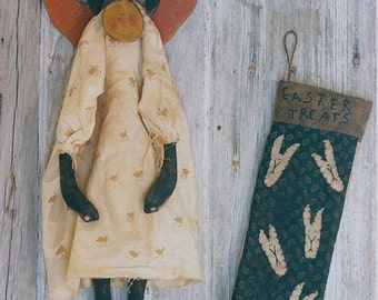 Primitive Rabbit Doll Pattern Easter Spring Stocking Chick Necklace  Epattern  PDF Folk Art Folkart Hickety Pickety 059