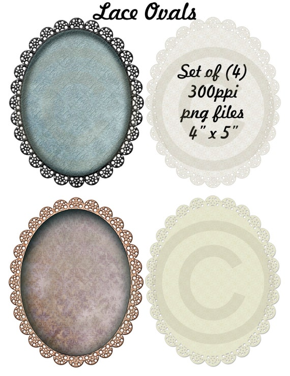 Instant Download, Lace Edged Oval Graphics, Oval Clip Art, Damask Ovals, Digital Downloads, Set of 4 Images, PNG Files