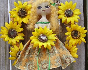 Primitive Sunflower Wreath with Folk Art Doll