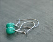 teeny tiny turquoise earrings (turquoise glass. sterling silver wire)