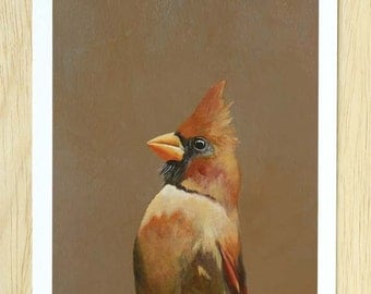 A Little Green-Eyed Guardian Of Honor I Like To Call Jealousy 8 x 10 Art Print - Cardinal - Bird - Mincing Mockingbird - Giclee - Gift