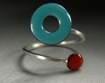 Lifesaver In Orbit Ring, Robins Egg and Cherry Red Kiln-fired Glass Enamel and Sterling Silver, Adjustable