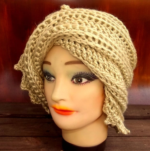 LAUREN Crochet Beanie Hat with Zigzag Brim