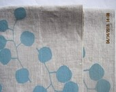 Linen Tea Towel, Hand Printed Eucalyptus Leaf Design,