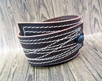 Leather Cuff Wrap Unisex, Stitched in Brown, Adjustable Size
