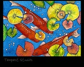 Fall Koi Pond ACEO Print 2.5x3.5 Limited Edition Mini Trading Card Art
