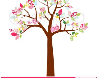 Sweet bird and tree clipart set