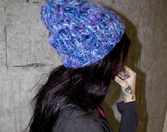 Blue mermaid knit beanie - multi recycled mohair wool yarn - one of a kind