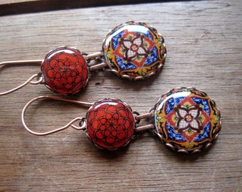 Statement earrings, Mexican jewelry, Red Mexican plate, MTO, Folk art, drop earrings, Southwestern, statement earrings, Talavera pottery