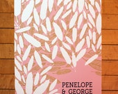 Personalized Wedding Guest Book Poster-Pink, Chartreuse, and Charcoal