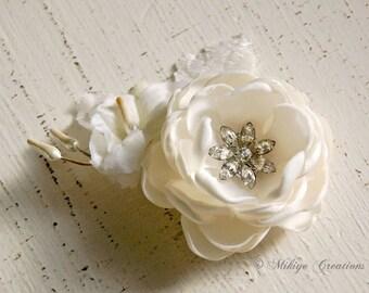 Wedding Hair Flower, Bridal Ivory Hair Flower Hair Piece, Ivory Wedding Hair Clip, Flower Fascinator Head Piece -  Petite Nettie In Ivory