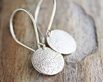 sterling silver earrings, round circle stardust pattern, everyday jewelry  gift for wife girlfriend