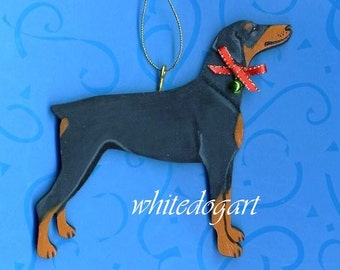 Artisan Handpainted Uncropped Doberman Pinscher Christmas Ornament