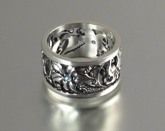 FLORAL Art Nouveau inspired silver band with aquamarine accents