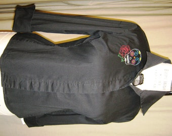 SALE!!! Sugar Skull blouse - black blouse with hand embroidered sugar skull