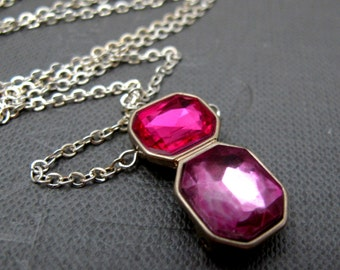"Candy Jewel Necklace // Fuchsia Pink and Purple Rhinestone Pendant // Geometric Emerald Shape// 17"" Silver Plated Chain // Only Piece"