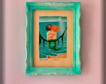 Framed Print Mermaid Art Vintage Frame