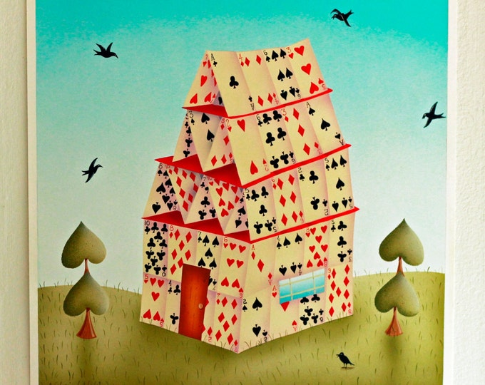HOUSE OF CARDS Framed Print | Playing Cards Painting | Game Room Wall Art | Card Room Print | Valerie Walsh Art Work | 12x12