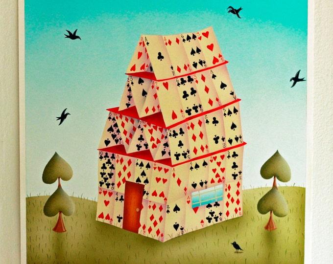 ART PRINT FRAMED Custom Framed House of Cards Print by Valerie Walsh 12 x 12