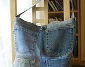 Deconstructed Denim Tote Bag, Multi Pockets, Patchwork, All Repurposed Materials, Washable, Big