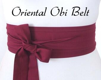 Looby Lou Narrow Obi belt -  Burgundy