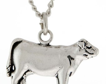 Stock Show Heifer Necklace in Sterling Silver - Free Chain