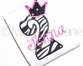 Custom Girls Birthday T Shirt with Crown for a Princess , Number, Initial, Monogram, Name, 1st, 2nd, 3rd, Children