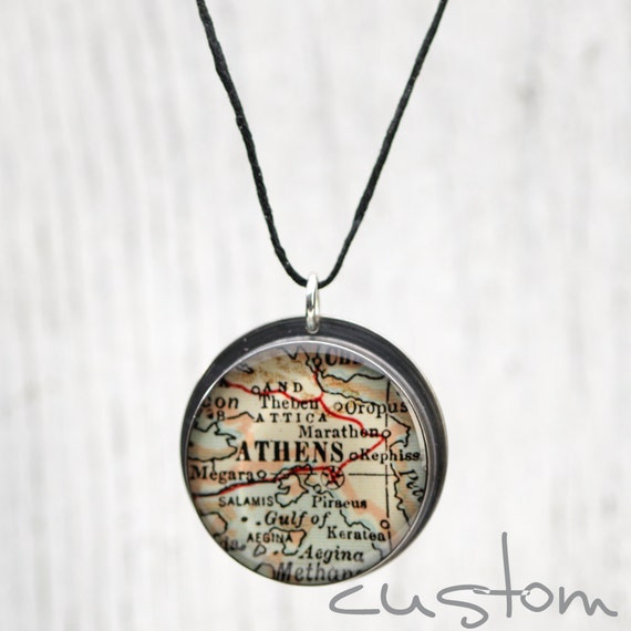 CUSTOM Antique Map Pendant Recycled Sterling Silver on Black Linen Cord