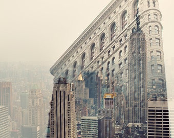 """NYC Skyline, Flatiron, New York Photography, Empire State, Architecture Print, Pastel Pink Travel Photography """"Midtown Daydreams"""""""