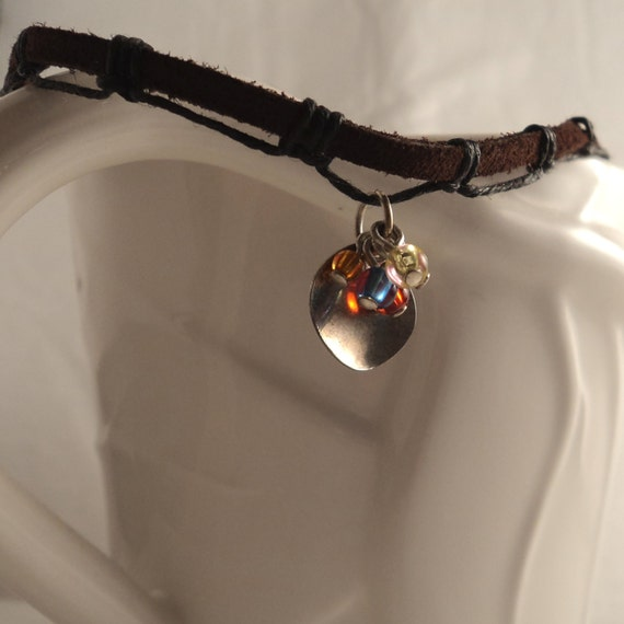 Rainbow Lure Charm Necklace - Leather, Waxed Linen Cord Macrame Knotwork, Silver Charm and Glass Beads Choker