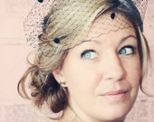 Black Birdcage Veil with Chenille Dots in the Bandeau Style with Free Feather Fascinator with Purchase