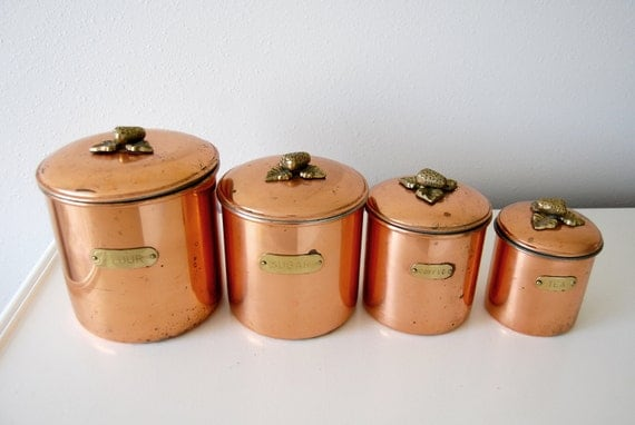 Vintage Copper Brass Storage Canisters By Shopgoodgrace On Etsy