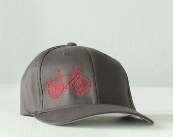 large -  XL - Vital Bicycle - flexfit fitted hat, raspberry on charcoal