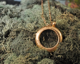 """CLEARANCE Round Locket Charm or Photo Necklace, Bronze Ox Finish with 18"""" chain"""