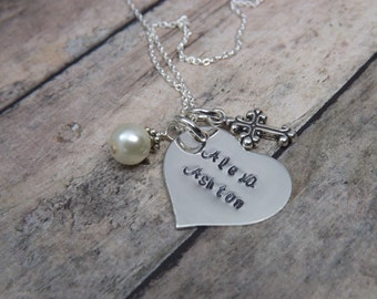 FIrst communion-confirmation-Handstamped-sterling silver-personalized-heart-necklace-cross-religious-