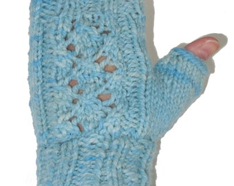 Lace Wrist Warmers - Hand Knit Fingerless Gloves - Hand Dyed Blue Wool