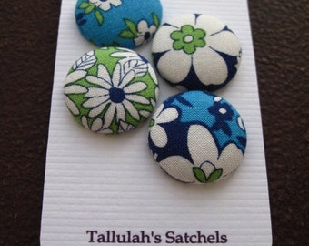 Wearable Sew On Fabric Covered Buttons - Size 36  7/8 inches White Flowers on Blue and Green