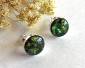 LICHEN Green Small Stud Earrings - 8 or 10 mm round - Handmade Sterling Silver and Resin Nature Jewelry - Captured Collection - on Posts